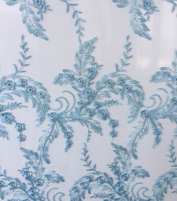 Sew Sweet Mesh Fabric-Icy Blue Embellished
