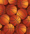 Snuggle Flannel Fabric -Brown Basketball