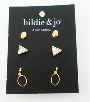 hildie & jo 3 Pair Earrings-Gold