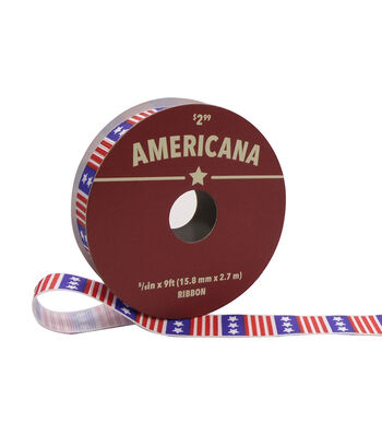 "Americana Ribbon 5/8""x9'-American Flag"
