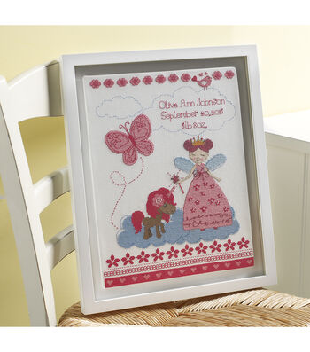 Bucilla Counted Cross Stitch Kit-Fairytale Princess Birth Record
