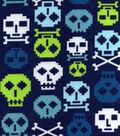 Snuggle Flannel Fabric -Digi Skulls