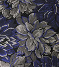 Jacquard Fabric-Blue/Silver Metallic Floral