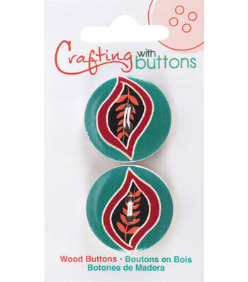 Crafting with Buttons Global Chic 2 pk 1'' Wood Buttons-Haiti