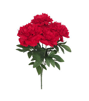 Handmade Holiday Christmas 21'' Water Resistant Peony Bush-Red