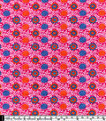Snuggle Flannel Fabric 42\u0022-Blue Orange Floral On Violet