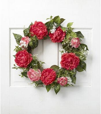 Fresh Picked Spring 23'' Peony, Ranunculus & Leaves Wreath-Pink & Green