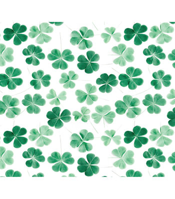 St. Patrick's Day Cotton Fabric-Photoreal Clovers on White