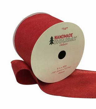 Handmade Holiday Christmas Metallic Ribbon 4''x40'-Red