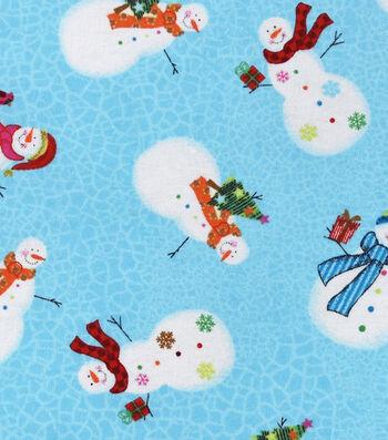 "Snuggle Flannel Fabric 42""-Sweet Snowman"