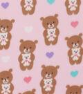 Blizzard Fleece Fabric 59\u0022-Hugging Pink Teddy Bear
