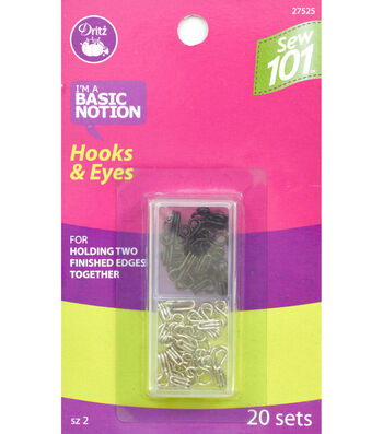 Dritz Sewing 101 Hooks And Eyes Nickel Black Size 2