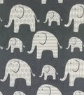 Soft & Comfy Fleece Fabric-White Elephants on Gray