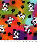 Snuggle Flannel Fabric-Spotted Pups on Tie Dye