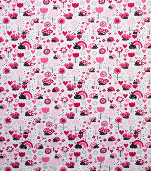 Super Snuggle Flannel Fabric-Ladybugs and Hearts