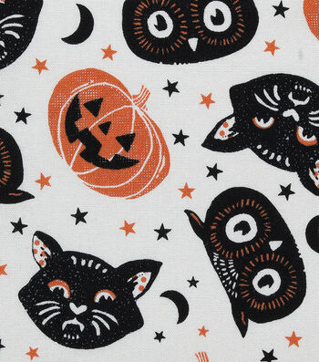 Halloween Cotton Fabric-Tossed Cat Heads on White