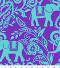 Blizzard Fleece Fabric -Jungle Elephant