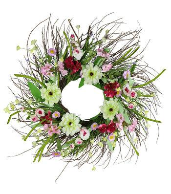 Fresh Picked Spring 24'' Zinnia, Wildflower & Twig Wreath