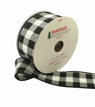 Handmade Holiday Ribbon 1.5''x30'-Large Black & White Buffalo Checks