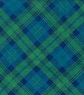 Snuggle Flannel Fabric -Blue Green Bias Plaid
