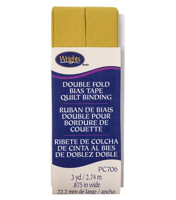 Wrights Double Fold Quilt Binding Bias Tape 7/8''x3 yds-Mustard
