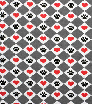 Super Snuggle Flannel Fabric-Hearts, Paws & Diamonds on Red & Grey