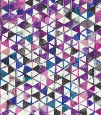 """Premium Wide Cotton Fabric 108""""-Watercolor Triangles Purple Blue"""