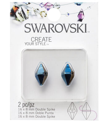 Swarovski Create Your Style 2 pk Double Spike Pendants-Metallic Blue