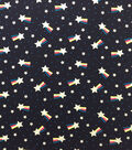 Doodles Cotton Spandex Fabric-Navy Silver Glitter Shooting Stars