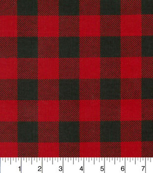 Snuggle Flannel Fabric 42 Red Black Buffalo Check