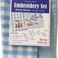 Spring Cherries Kitchen Stitches Tea Towel Embroidery Kit-20\u0022X28\u0022