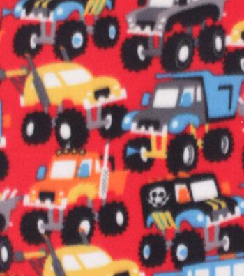 """Blizzard Fleece Fabric 59""""-Monster Trucks"""