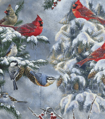 Snuggle Flannel Fabric -Realistic Cardinals And Snow