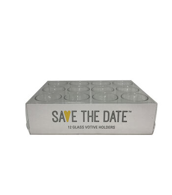 Save the Date 12 Glass Votive Holders