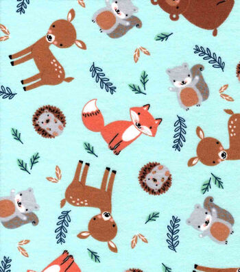 Nursery Flannel Fabric-Eamon Tossed Animals