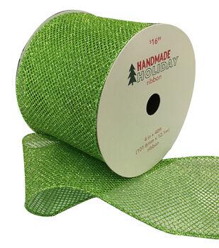 Handmade Holiday Christmas Glitter Mesh 4''x40'-Lime Green