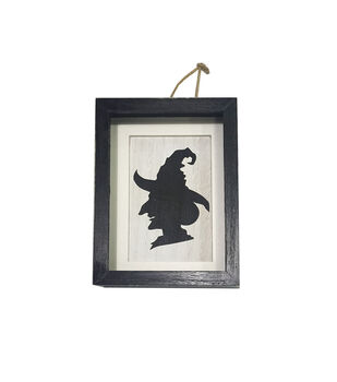 Maker's Halloween 8''x1.5'' Frame Word Block-Witch Silhouette