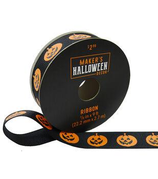 Maker's Halloween Decor Ribbon 7/8''x9'-Pumpkins on Black