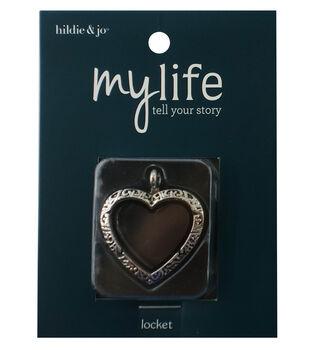hildie & jo My Life Heart Scroll Silver Locket-Clear Glass