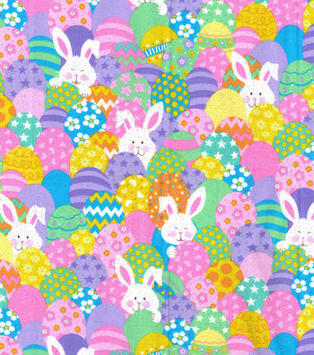 Easter Cotton Glitter Fabric -Bunnies & Eggs