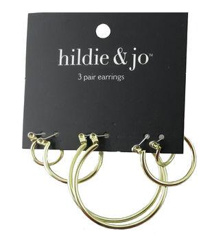 hildie & jo 3 Pack Gold Hoop Earrings