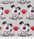 Blizzard Fleece Fabric -I Woof You