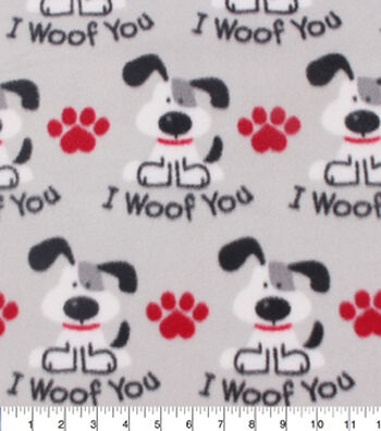 Blizzard Fleece Fabric -I Woof You