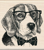 Inkadinkado 3''x3'' Wood Mounted Rubber Stamp-Nerdy Dog, , hi-res