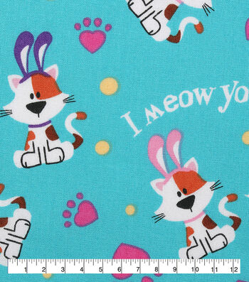 Easter Cotton Fabric-I Meow You Easter