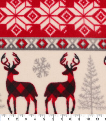 "Anti-Pill Fleece Fabric 59""-Buffalo Check Deer Knit"