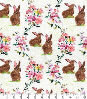Easter Cotton Fabric-Watercolor Brown Bunny