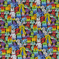 Novelty Cotton Fabric-Patterned Rainbow Dogs