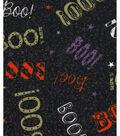 Halloween Cotton Fabric -Boo On Black Glitter