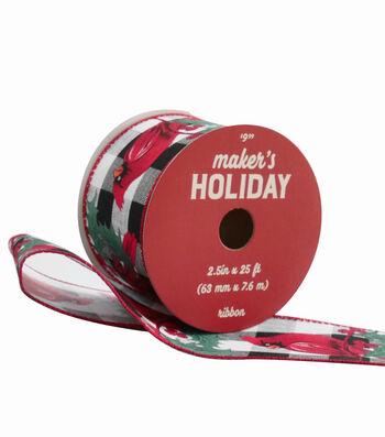 Maker's Holiday Ribbon 2.5''x25'-Cardinals on Black & White Plaid